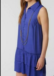 Urban Outfitters Coincidence and Chance Ruffle-Bottom Blue Shirtdress size small